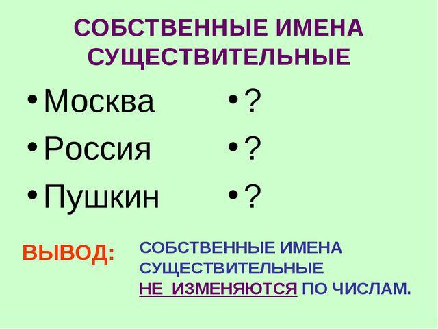СОБСТВЕННЫЕ ИМЕНА СУЩЕСТВИТЕЛЬНЫЕ Москва Россия Пушкин ? ? ? ВЫВОД: СОБСТВЕНН...