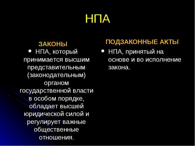 НПА ЗАКОНЫ НПА, который принимается высшим представительным (законодательным)...