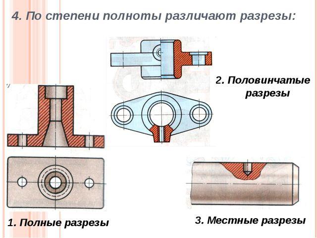 4. По степени полноты различают разрезы: 1. Полные разрезы 2. Половинчатые ра...