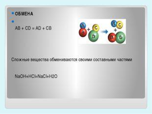 ОБМЕНА AB + CD = AD + CB Сложные вещества обмениваются своими составными част