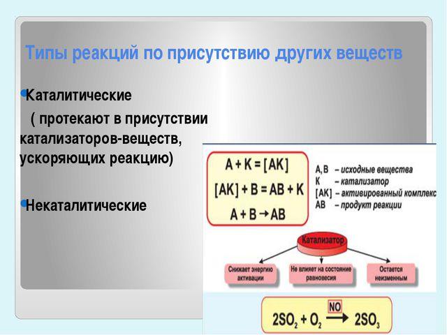 Типы реакций по присутствию других веществ Каталитические ( протекают в прису...