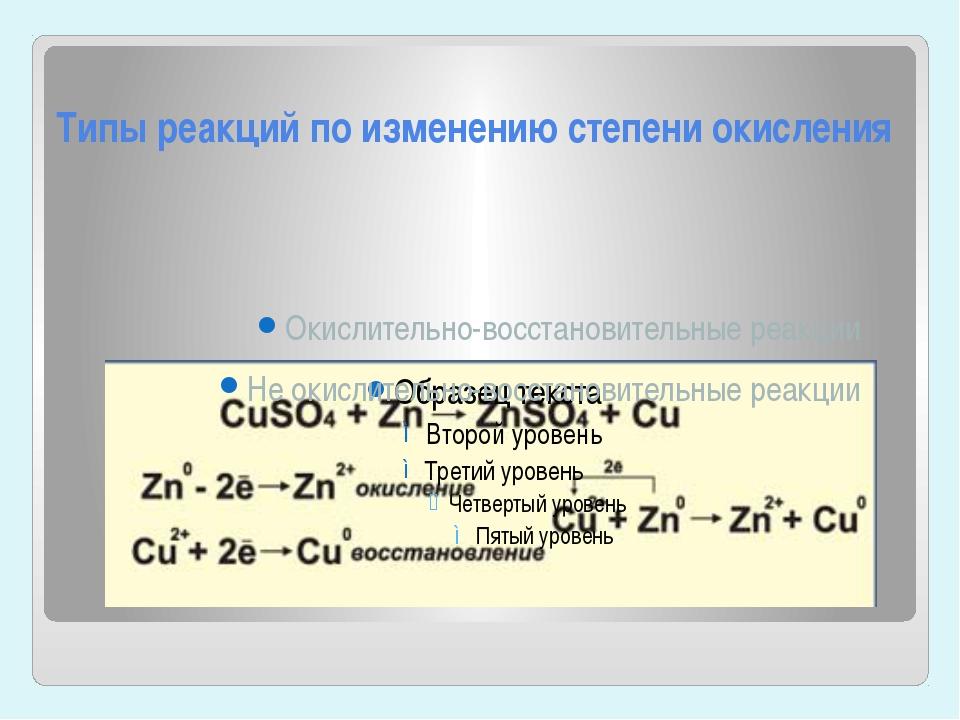 Типы реакций по изменению степени окисления Окислительно-восстановительные ре...