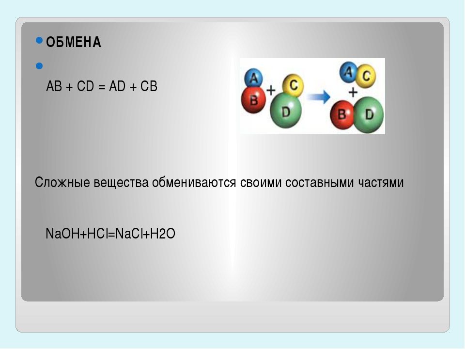 ОБМЕНА AB + CD = AD + CB Сложные вещества обмениваются своими составными част...