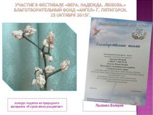 конкурс поделок из природного материала «И сухая ветка расцветает» Лысенко Ва