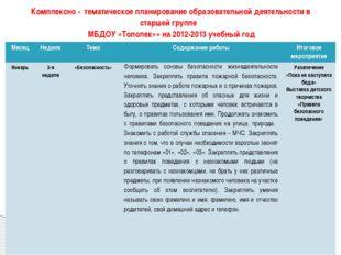 Комплексно - тематическое планирование образовательной деятельности в старшей
