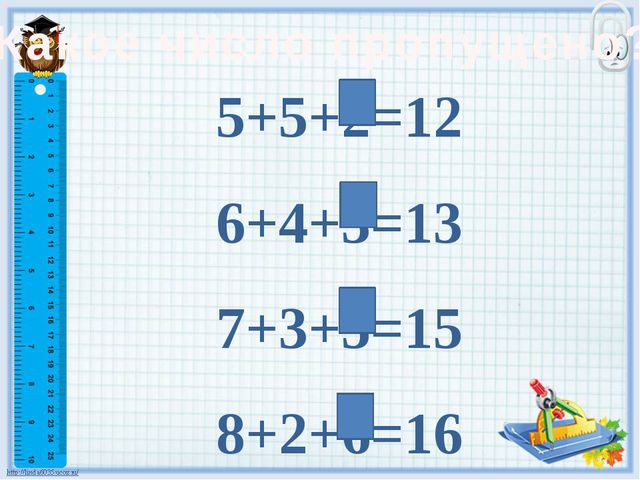 Какое число пропущено? 5+5+2=12 6+4+3=13 7+3+5=15 8+2+6=16
