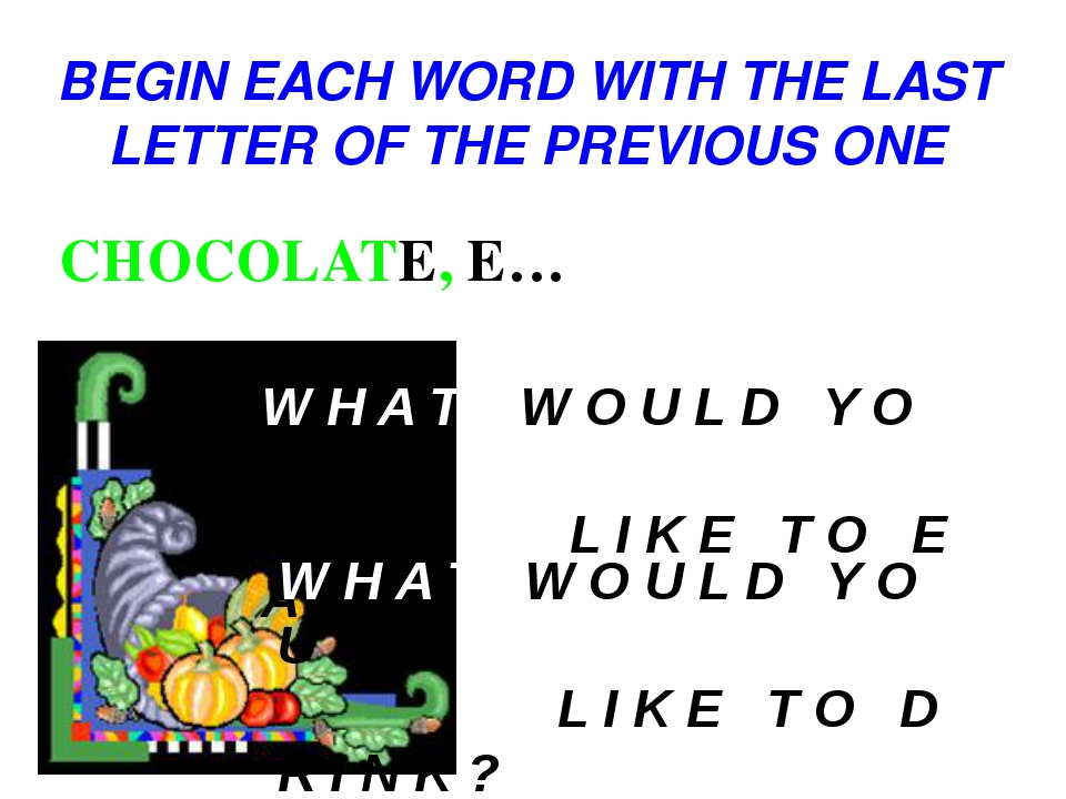 BEGIN EACH WORD WITH THE LAST LETTER OF THE PREVIOUS ONE CHOCOLATE, E… W H A...