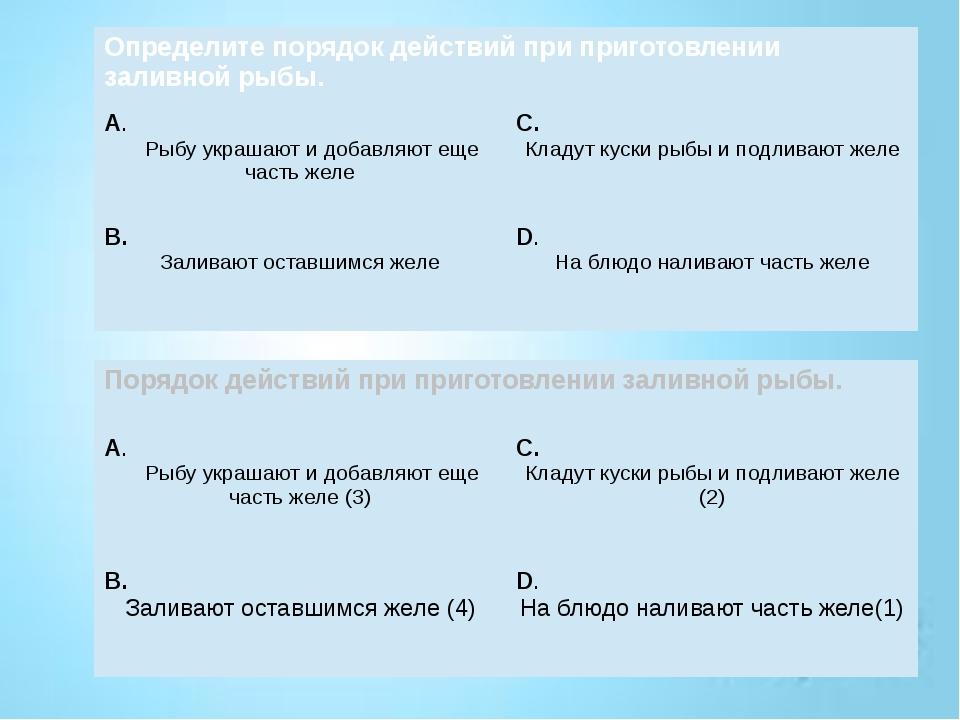 Определите порядок действий при приготовлении заливной рыбы. А. Рыбу украшают...