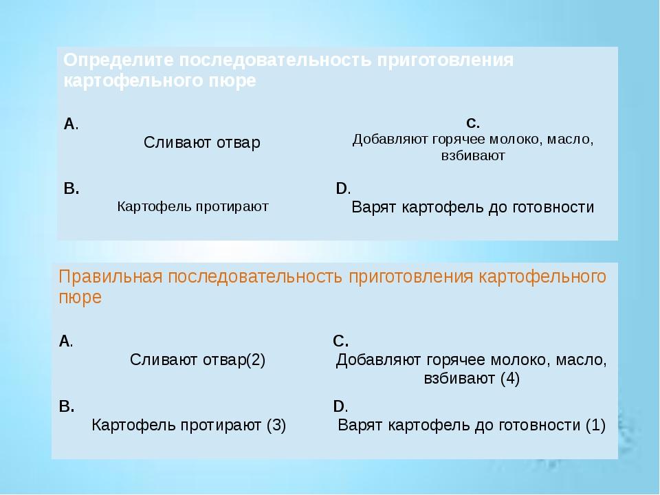 Определите последовательность приготовления картофельного пюре А. Сливают отв...