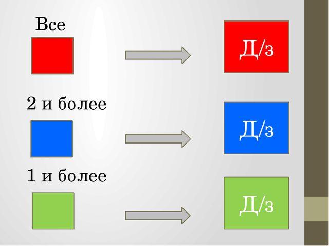 Д/з Д/з Д/з Все 2 и более 1 и более