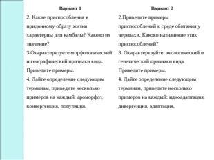 Вариант 1Вариант 2 2. Какие приспособления к придонному образу жизни характе