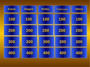 Actors Singers Others 100 100 100 100 200 200 200 200 300 300 300 300 400 400