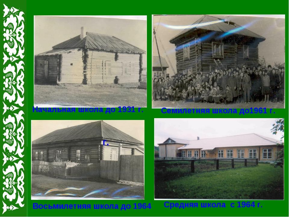 Начальная школа до 1931 г. Семилетняя школа до1961 г. г. Восьмилетняя школа д...