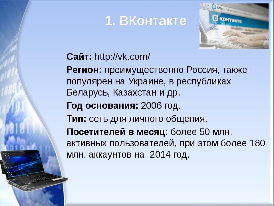 1. ВКонтакте Сайт: http://vk.com/ Регион: преимущественно Россия, также попул...