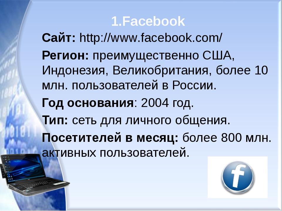 1.Facebook Сайт: http://www.facebook.com/ Регион: преимущественно США, Индоне...
