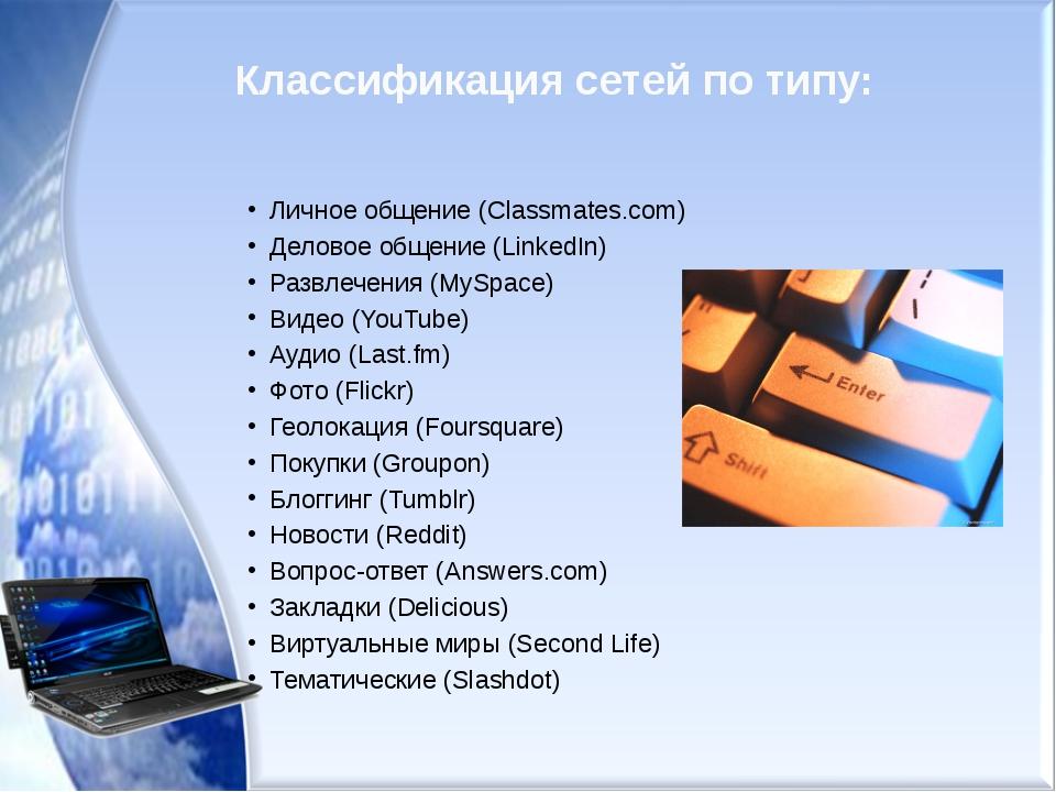 Классификация сетей по типу: Личное общение (Classmates.com) Деловое общение...