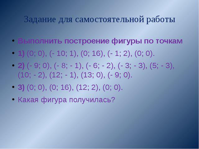 Задание для самостоятельной работы Выполнить построение фигуры по точкам 1) (...