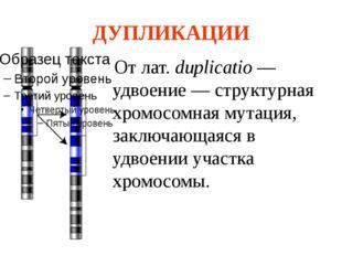 ДУПЛИКАЦИИ От лат. duplicatio — удвоение — структурная хромосомная мутация, з