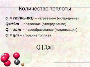Q = cm(t02-t01) – нагревание (охлаждение) Q=m - плавление (отвердевание) Q