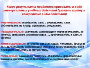 Какие результаты продемонстрированы в виде универсальных учебных действий (ук