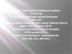 Площадь территории Колпашевского района: 17112 кв км; Площадь территории горо