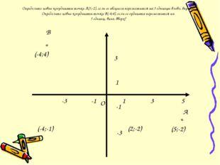 Определите новые координаты точки А(5;-2), если ее абсцисса переместится на 3