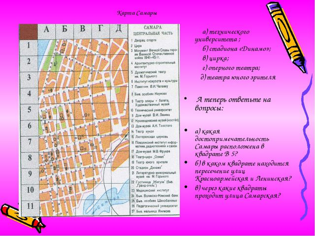 Карта Самары а) технического университета ; б) стадиона «Динамо»; в) цирка; г...