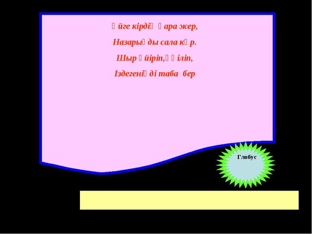 Үйге кірдің қара жер, Назарыңды сала көр. Шыр үйіріп,үңіліп, Іздегеніңді таба...