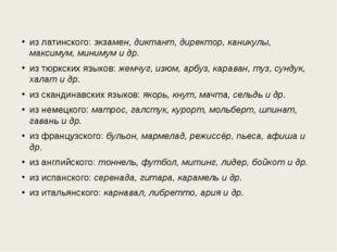 из латинского:экзамен, диктант, директор, каникулы, максимум, минимум и др.