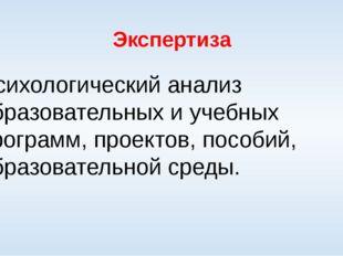 Экспертиза Психологический анализ образовательных и учебных программ, проекто