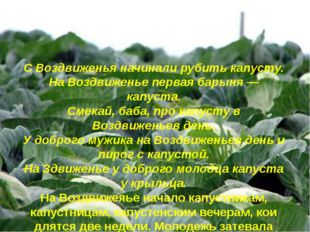 С Воздвиженья начинали рубить капусту. На Воздвиженье первая барыня — капуста