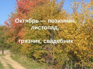 Октябрь— позимник, листопад, грязник, свадебник