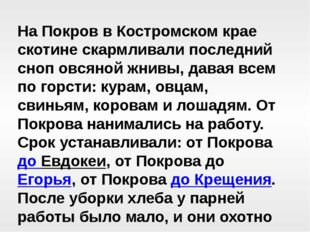 На Покров в Костромском крае скотине скармливали последний сноп овсяной жнивы