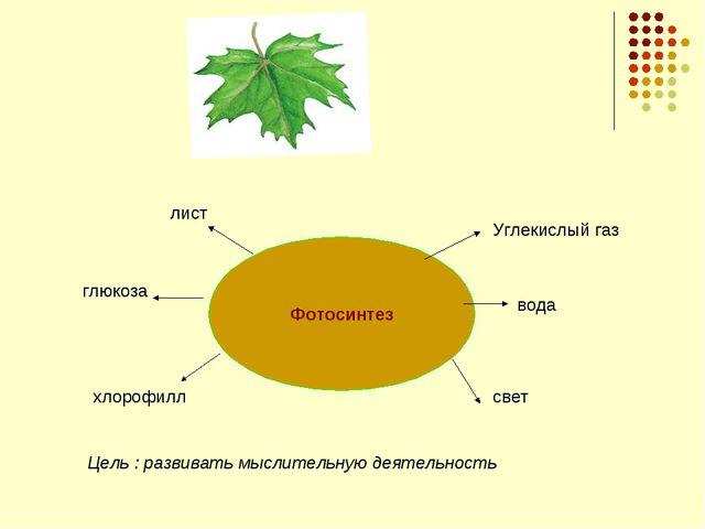 Фотосинтез глюкоза лист Углекислый газ вода свет хлорофилл Цель : развивать м...