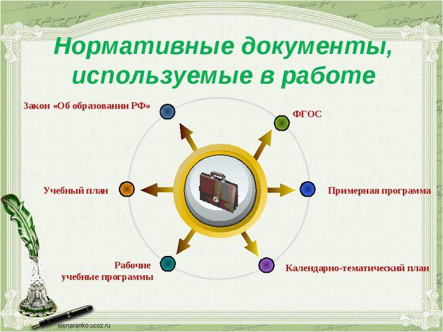 Нормативные документы, используемые в работе