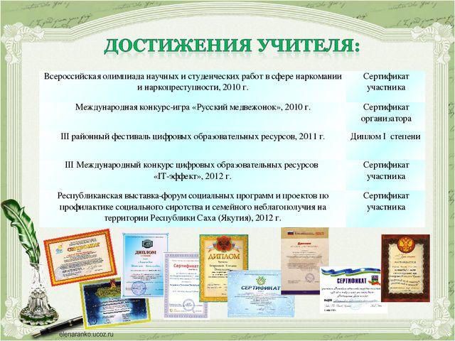 Всероссийская олимпиада научных и студенческих работ в сфере наркомании и нар...
