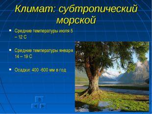 Климат: субтропический морской Средние температуры июля 5 – 12 С Средние темп