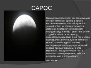 САРОС Каждый год происходят как минимум два лунных затмения, однако в связи с