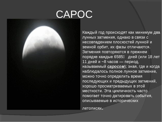 САРОС Каждый год происходят как минимум два лунных затмения, однако в связи с...