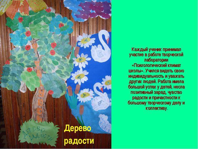 Каждый ученик принимал участие в работе творческой лаборатории «Психологическ...