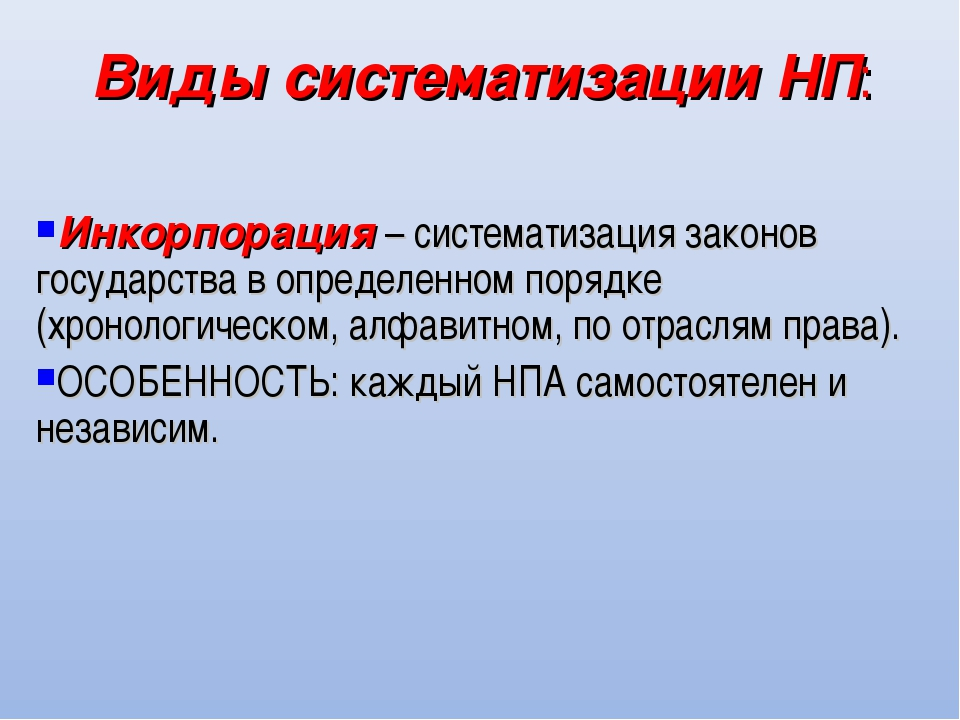Виды систематизации НП: Инкорпорация – систематизация законов государства в о...