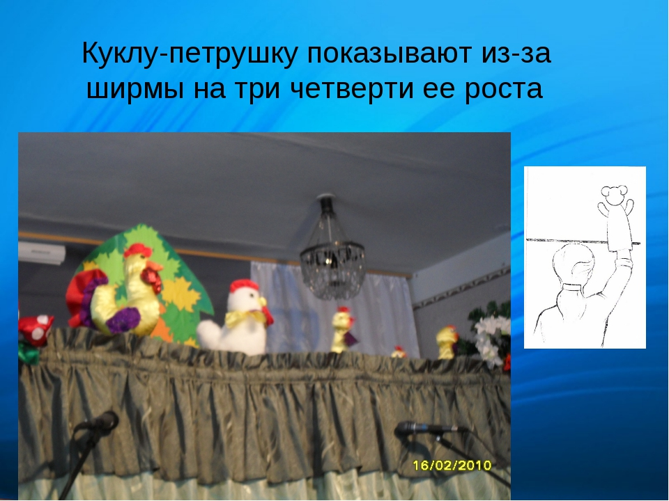 Куклу-петрушку показывают из-за ширмы на три четверти ее роста