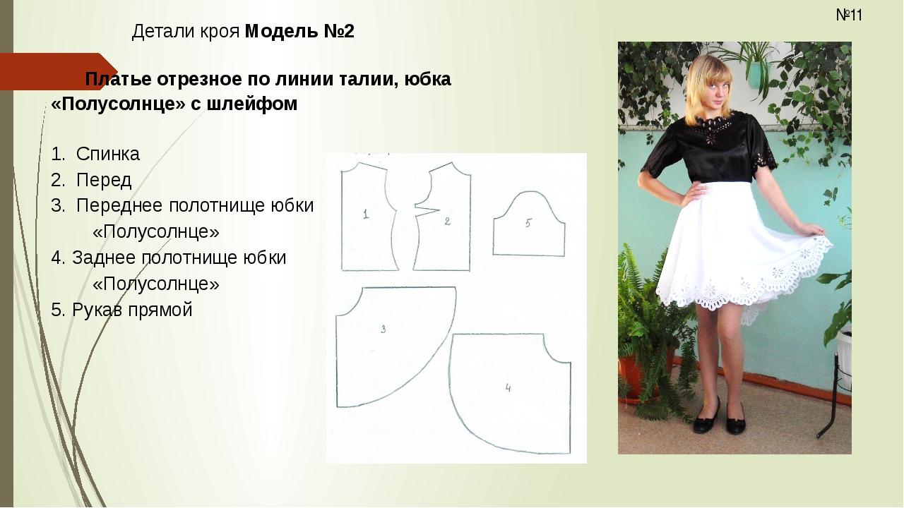 Детали кроя Модель №2  Платье отрезное по линии талии, юбка «Полусолнце» с...
