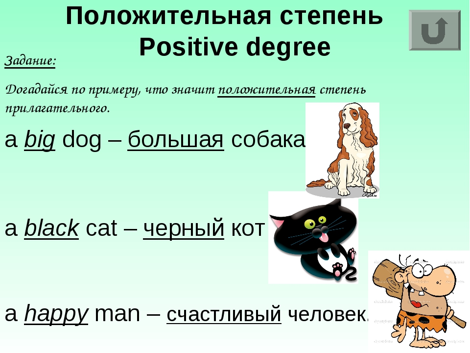 Положительная степень Positive degree Задание: Догадайся по примеру, что знач...