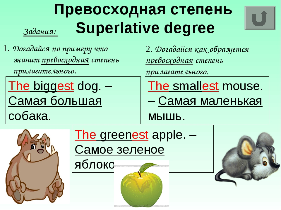 Превосходная степень Superlative degree Задания: 1. Догадайся по примеру что...