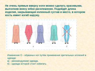 Изменение О - образных ног путём применения зрительных иллюзий в одежде: а) -