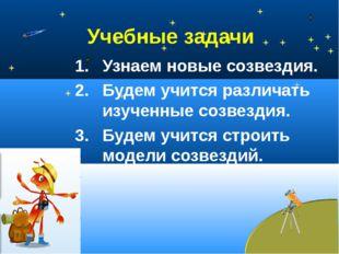 Учебные задачи Узнаем новые созвездия. Будем учится различать изученные созве