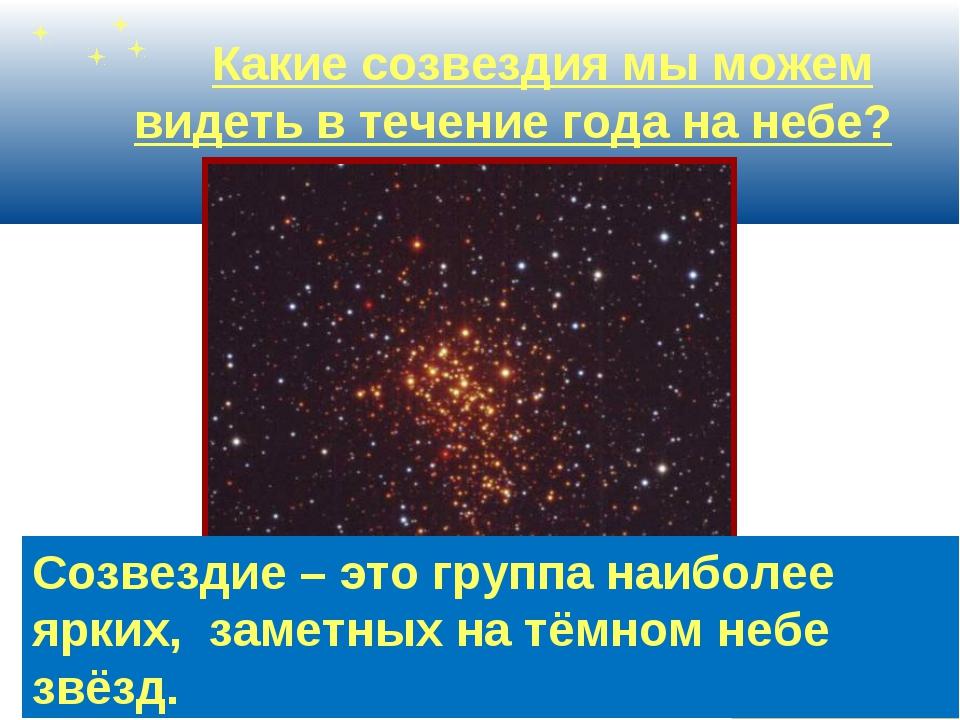 Какие созвездия мы можем видеть в течение года на небе? Созвездие – это гру...