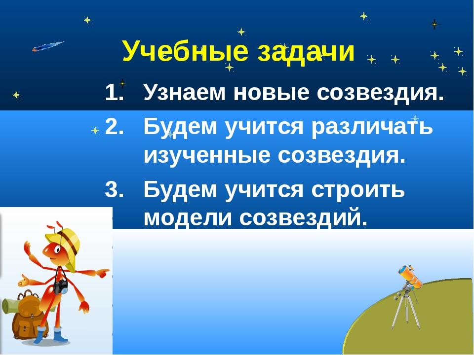 Учебные задачи Узнаем новые созвездия. Будем учится различать изученные созве...