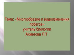 Тема: «Многообразие и видоизменения побегов» учитель биологии Ахметова Л.Т